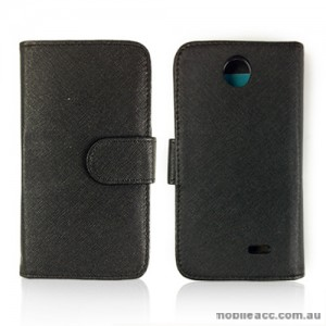 Synthetic Leather Wallet Case Cover for HTC Desire 310 - Black