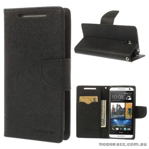 Korean Mercury Fancy Diary Wallet Case for HTC Desire 610 - Black