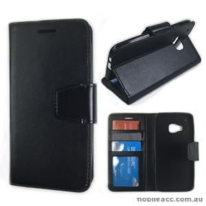 HTC One M9 Stand Wallet Case Cover - Black