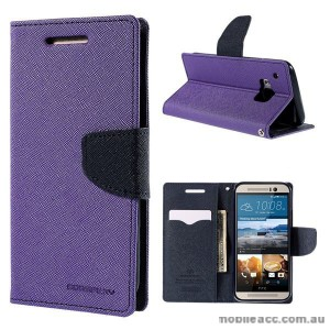Korean Mercury Fancy Diary Wallet Case for HTC One M9 - Purple