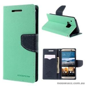 Korean Mercury Fancy Diary Wallet Case for HTC One M9 - Green
