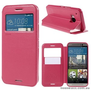 Korean Roar Wallet Case Cover for HTC One M9 - Hot Pink