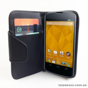 Woven Pattern Synthetic Leather Wallet Case for LG Google Nexus 4 - Black