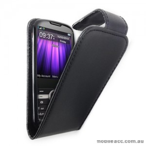 Synthetic Leather Flip Case Cover for Telstra T96 × 2- Black