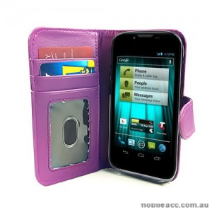 Synthetic Leather Wallet Case for Telstra EasyTouch 4G ZTE T82 - Purple