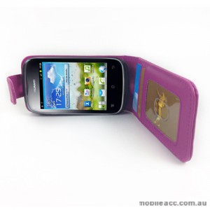 Synthetic Leather Flip Case for Telstra Huawei Ascend Y201 - Purple