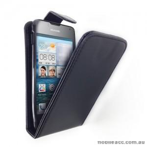Synthetic Leather Flip Case for Telstra Huawei Ascend Y300 - Black
