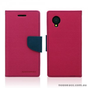Mercury Goospery Fancy Diary Wallet Case for LG Google Nexus 5 - Hot Pink