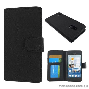 Synthetic Wallet Case Cover for Huawei Ascend G526 - Black