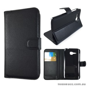 Litchi Skin Wallet Case Cover for Huawei Ascend Y600 - Black