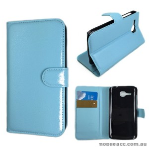 Litchi Skin Wallet Case Cover for Huawei Ascend Y600 - Blue