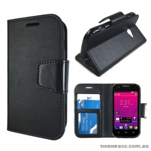 Telstra Evolution T80 Stand TPU In Wallet Case - Black