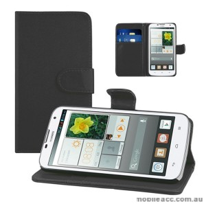 Mooncase Stand Wallet Case for Huawei Ascend G730 Black