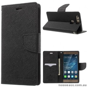 Korean Mercury Fancy Diary Wallet Case Cover For Huawei P9 - Black