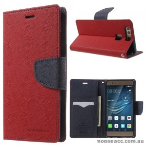 Mercury Goospery Fancy Diary Wallet Case Cover For Huawei P9 - Red