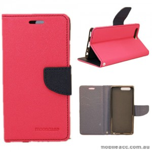 Mooncase Stand Wallet Case For Huawei P10 Plus Hot Pink