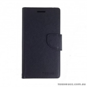Universal Fancy Diary Stand Wallet Case Size 6 - Black