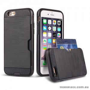 Rugged Shockproof Tough Back Case With Side Card Slot For iPhone 6/6s - Black