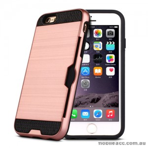 Rugged Shockproof Tough Back Case With Side Card Slot For iPhone 6/6s - Rose Gold