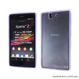 TPU Round and PC Back Case for Sony Xperia Z - Purple