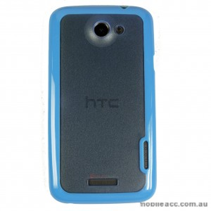 TPU   PC Back Case for HTC One X - Blue