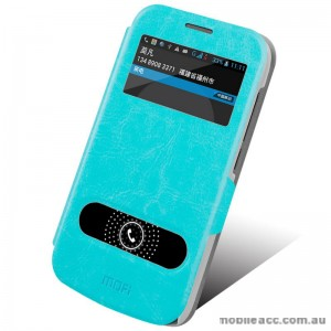 MOFI Leather Stand Flip Cover for Huawei Ascend Y600 - Blue