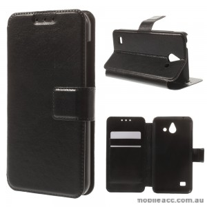Stand Leather Wallet Case Cover for Huawei Ascend Y550 - Black