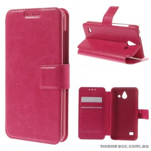 Stand Leather Wallet Case Cover for Huawei Ascend Y550 - Rose