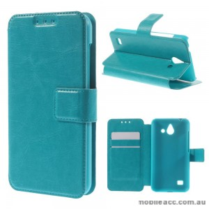 Stand Leather Wallet Case Cover for Huawei Ascend Y550 - Blue