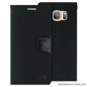 Korean Mercury Canvas Diary Wallet Case For Samsung Galaxy S7 - Black