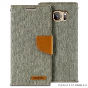 Korean Mercury Canvas Diary Wallet Case For Samsung Galaxy S7 - Grey