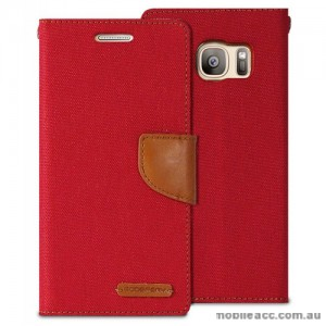 Korean Mercury Canvas Diary Wallet Case For Samsung Galaxy S7 - Red