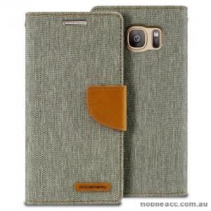 Korean Mercury Canvas Diary Wallet Case For Samsung Galaxy S7 Edge - Grey