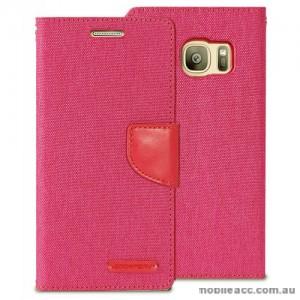 Korean Mercury Canvas Diary Wallet Case For Samsung Galaxy S7 Edge - Hot Pink