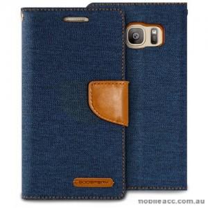 Korean Mercury Canvas Diary Wallet Case For Samsung Galaxy S7 Edge - Navy