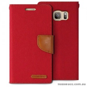 Korean Mercury Canvas Diary Wallet Case For Samsung Galaxy S7 Edge - Red