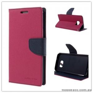 Korean Mercury Fancy Diary Wallet Case For Samsung Galaxy S7 Edge - Hot Pink