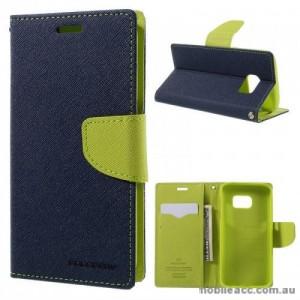 Korean Mercury Fancy Diary Wallet Case For Samsung Galaxy S7 Edge - Navy