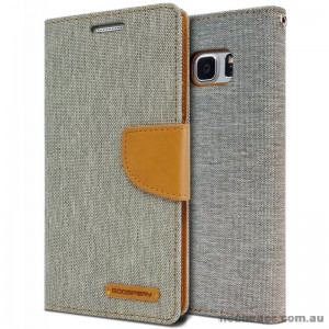 Korean Mercury Canvas Diary Wallet Case For Samsung Galaxy Note 7 -  Grey