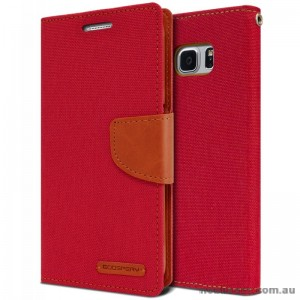 Korean Mercury Canvas Diary Wallet Case For Samsung Galaxy Note 7 -  Red
