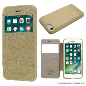 Korean Mercury WOW Window View Flip Cover For iPhone 7+/8+ 5.5 inch - Gold
