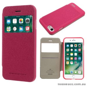Korean Mercury WOW Window View Flip Cover For iPhone 7+/8+  5.5 inch - Hot Pink