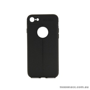 TPU PU Leather Back Case For iPhone 8 - Black