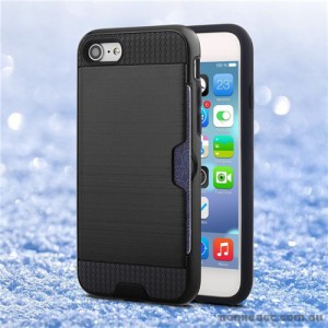 Rugged Shockproof Tough Back Case With Side Card Slot For iPhone 7- Black