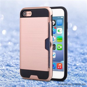 Rugged Shockproof Tough Back Case With Side Card Slot For iPhone 7- Rose Gold