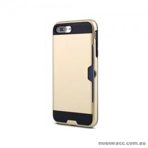 Rugged Shockproof Tough Back Case With Side Card Slot For iPhone 7 Plus - Gold