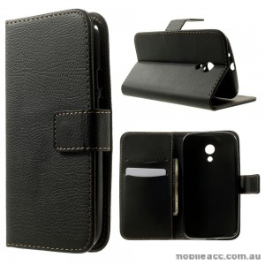 Litchi Skin TPU In Wallet Case Cover for Motorola Moto G2 2014 - Black