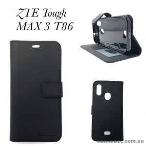 Soft Feeling Mooncase Diary  Wallet Case Cover For Telstra  ZTE Tough MAX 3 T86  Black