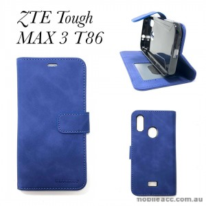Soft Feeling Mooncase Diary  Wallet Case Cover For Telstra  ZTE Tough MAX 3 T86  Blue