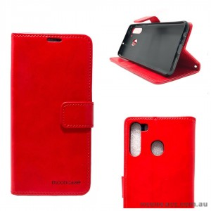 Mooncase Diary Wallet Case For Samsung A21 6.5 inch  A215  Red